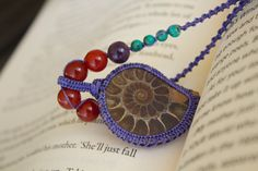 Ammonite Macrame Necklace with Turquoise and by PeaceofStoneStudio