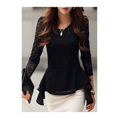 Rotita Long Sleeve Waist Peplum Lace T Shirt ($19) ❤ liked on Polyvore featuring tops, t-shirts, black, long tee, lace peplum top, lace top, peplum tops and long sleeve tee
