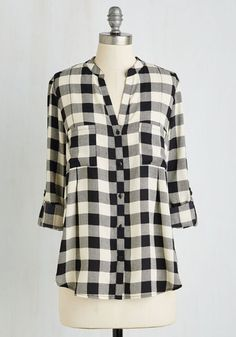 Straight to Video Chat Top - Multi, Plaid, Print, Pockets, Casual, Vintage Inspired, 90s, 3/4 Sleeve, Woven, Good, V Neck, Collared, Fall, Winter, Mid-length