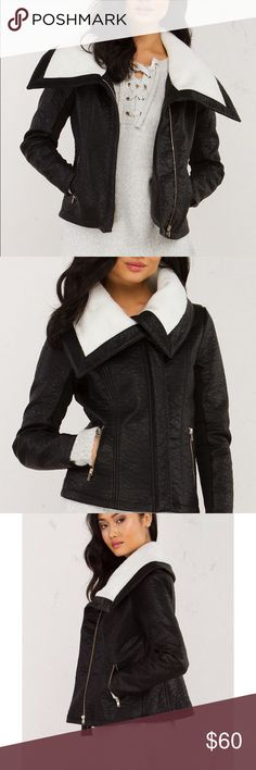 Cute Shearling Leather Jacket Cute shearling leather jacket size XL or 12-14. Has an eye-catching, shearling collar, metal zip front pockets and long sleeves with ribbed detailing underneath. You'll be living in this all season long! AKIRA Jackets & Coats