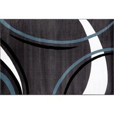 World Rug Gallery Alpine Contemporary Modern Wavy Circles Rug, Dark Grey