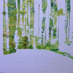 I am painting the foliage, mixing colors wet in wet