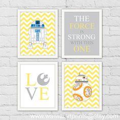R2D2 BB-8 Star Wars Nursery Art Print. LOVE Art by waiwaiartprints