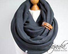 BUFANDA de grueso, extra grueso infinito bufanda con brazalete de cuero, bufandas con capucha infinito bufanda, redecilla carbón, bufanda con capucha, bufanda del algodón