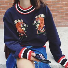 Harajuku Tiger Embroidery Sweater sold by Moooh!!. Shop more products from Moooh!! on Storenvy, the home of independent small businesses all over the world.