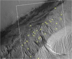 NASA's Curiosity rover is currently exploring the base of Mount Sharp. The Martian peak's base has features similar to Recurring Slope Lineae (RSL), which are caused by liquid water, but none are confirmed to be RSL. Sites 33, 36, 46, and 56 are closest to the rover. <br />