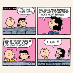Charlie Brown and Lucy discuss the world.