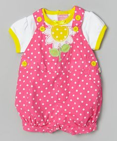Look at this #zulilyfind! Pink Polka Dot Daisy Tee & Shortalls - Infant by Duck Duck Goose #zulilyfinds