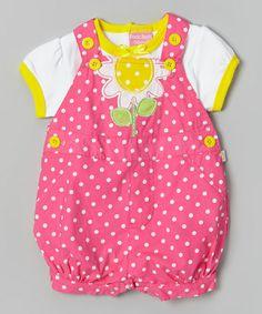 Look at this #zulilyfind! Pink Polka Dot Daisy Tee & Shortalls - Infant by Duck Duck Goose #zulilyfinds