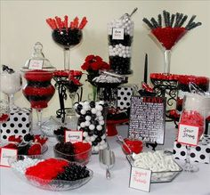 Casino night food · hollywood party · : red and black candy table, black red candy buffet, candy red, candy Vegas Party, Casino Night Party, Casino Theme Parties, Party Themes, Birthday Parties, Vegas Theme, Casino Party Decorations, Birthday Table, 50th Birthday