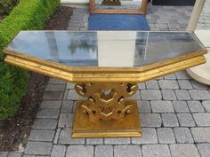 Mid C Giltwood Mirrored Console, Attributed to Grosfeld House | From a unique collection of antique and modern console tables at https://www.1stdibs.com/furniture/tables/console-tables/