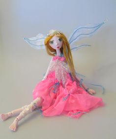 DELILAH,  Japanese paper clay ball jointed fairy doll, handmade in the USA