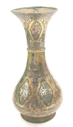 DAMASCINE-CAIRO WARE ANTIQUE DECORATED BRASS INLAY WITH SILVER AND COPPER VASE