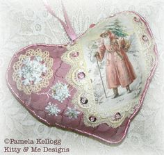Pink Christmas Hanging Heart Victorian Santa Cottage by Kittyandme, $14.95