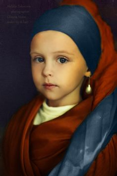Blue and Rust Brown  in Art / Child Portrait