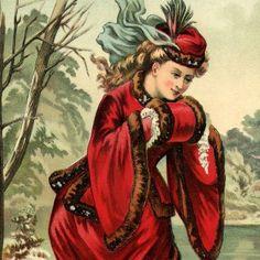 Stunning Victorian Winter Lady Image!