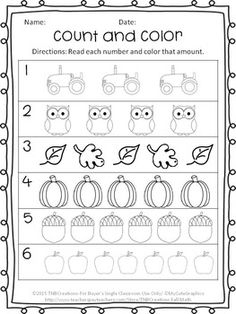 Enjoy this FREE Fall coloring and counting worksheet! Perfect for kindergarten students!