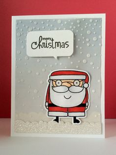 #papercraft #Card by PS GDT Jamie Greene using PS Borders 1, Santa Paws stamps/dies, Merry Motifs