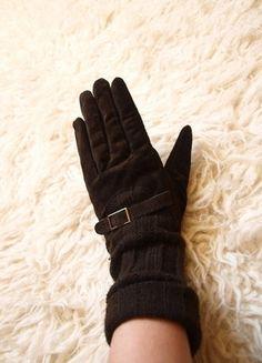 Kupuj mé předměty na #vinted http://www.vinted.cz/doplnky/rukavice/13747927-kozene-a-pletene-hnede-teple-dlouhe-rukavice-reserved-m-s-prezkou-pig-suede-kozeny-semis