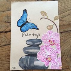 #mulpix Done 🌸  #drawing  #dessin  #butterfly  #papillon  #bleu  #blue  #orchid  #orchidee  #rose  #pink  #galets  #pebbles  #instaart  #birthday  #anniversaire  #mum  #maman  #art