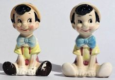 Disney's Pinocchio Glazed Ceramic Salt & Pepper Shakers (1960's)