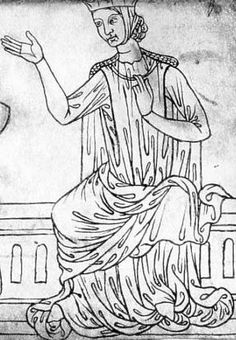 Woman in a barbette and coif, sleeveless surcoat, gown and mantle. Sketch by Villard de Honnecourt, c.1230