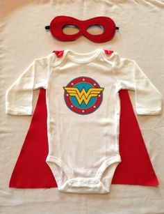 Wonder Woman Superhero Baby Onesie with Detachable Satin Cape and Mask, Apparel or Costume