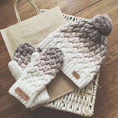 Gorros y mitones de punto # strickmütze, Crochet Mittens, Crochet Beanie, Knitted Hats, Knit Crochet, Crochet Hats, Loom Knitting, Knitting Patterns Free, Knit Patterns, Baby Knitting