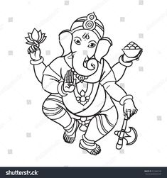 Find Cartoon Vector Elephant Head God Ganesha stock images in HD and millions of other royalty-free stock photos, illustrations and vectors in the Shutterstock collection. Ganesha Sketch, Ganesha Drawing, Lord Ganesha Paintings, Ganesha Art, Zentangle Drawings, Art Drawings Sketches, Easy Drawings, Ganpati Drawing, Diwali Painting