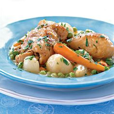 Braised Chicken with Baby Vegetables and Peas Recipe Falling-off-the-bone tender is what you get when you simmer chicken pieces in a liquid mixture of wine and broth along with herbs and fresh vegetables. Everything cooks together in a Dutch overn for a hearty one-dish dinner