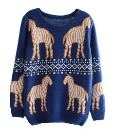Navy Mirror Zebra Sweater. #ustrendy  www.ustrendy.com