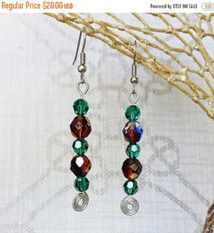 $20 - Crystal Dangle Earrings ~ Garnet & Emerald Silver Wire Wrapped Drops ~ January and May Birthstone Jewelry for New Years Eve, Valentines Day