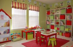 Kindergarten room in colorful theme. Red and Green would be cute for an apple theme.