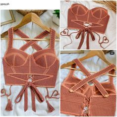 Crochet Top Outfit, Crochet Shirt, Crochet Crop Top, Cute Crochet, Crochet Clothes, Diy Crochet Top, Crochet Bikini, Knit Crochet, Crochet Designs