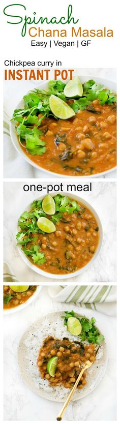 Instant Pot Chana Masala / chickpea curry / cholay - vegan & gf makes a healthy weeknight one pot meal . Learn how to make pressure cooker chickpea curry recipe from scratch with soaking or without soaking. Instant Pot Pressure Cooker, Pressure Cooker Recipes, Slow Cooker, Curry Recipes, Vegetarian Recipes, Healthy Recipes, Spinach Recipes, Vegan Vegetarian, Free Recipes