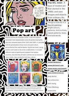 Pop Art Poster designed for students as a quick reference and introduction. Since we're doing pop art in our mock School Art Projects, Art History Lessons, Art Poster Design, Art Handouts, Art Theory, Art, Pop Art Posters
