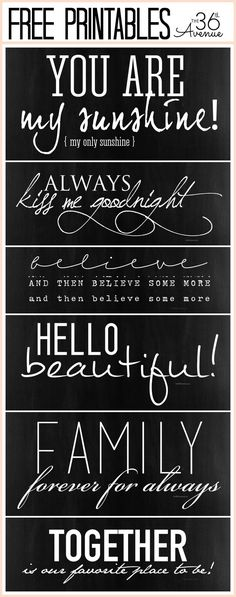 Free Quotes Printable Collection at the36thavenue.com {includes links to the fonts used}