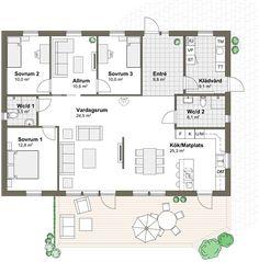 Villa Solviken Klassisk – Varbergshus Compact Living, House Plans, Floor Plans, Flooring, How To Plan, Interior Design, Architecture, Sims 4, Building