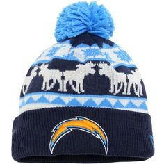 0c0c9f34096 San Diego Chargers New Era Navy Blue White Mooser Cuffed Knit Beanie w Pom