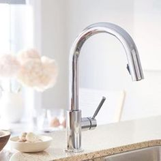 The sleek and stylish Solna kitchen faucet in Polished Chrome shines in this luminous kitchen space. Designer: https://www.instagram.com/p/BM1qlVyA7EP/?taken-by=designmaze_tim&hl=en