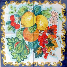 Lemons and Citrus Baroque Style is a hand painted panel of Italian tiles 40x40 cm, approx. 16x16 inches in total size.  The collage consist of 4 tiles each at 20x20 cm, 8x8 inches.  The beautiful Italian fruit has been hand painted into one collage on ceramic tiles in a Baroque style that will make your home more unique. Our Ceramic Glazed Tiles are traditionally used to cover walls where they are used in finishing kitchens, bathrooms, benches, decorative panels, floor applications, pools…