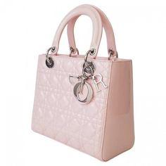 Lady Dior patent leather handbag DIOR (11,335 SAR) ❤ liked on Polyvore featuring bags, handbags, man bag, pink patent bag, purse bag, patent leather bags and pink patent leather handbag