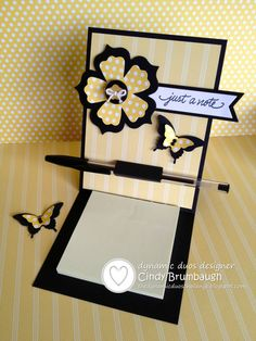 awesome SU Fun Flowers Butterflies Post It Note Holder DD Post It Note Holders, Craft Show Ideas, Bee Design, Butterfly Cards, Card Tutorials, Scrapbook Cards, Scrapbooking, Craft Fairs, Homemade Cards