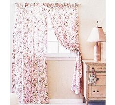 Rachel Ashwell CURTAIN PANEL Rosalie Pink Floral Simply Shabby Chic Collection