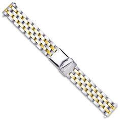 Breitling Pilot Style Solid Link Metal Watch Band - Two Tone - 20mm $64.95 (18% OFF)
