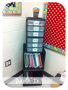 one of these for each kid...workboxes on top...binders underneath