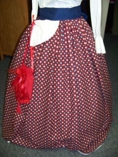 Bicentennial,Civil War costume Long drawstring SKIRT and Sash one size fit all Red,white and Blue checked cotton with Blue Sash Handmade by civilwarlady on Etsy