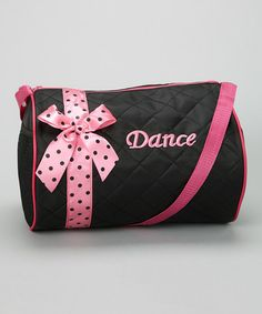Another great find on #zulily! Black & Pink Polka Dot Ribbon 'Dance' Duffel by Wenchoice #zulilyfinds