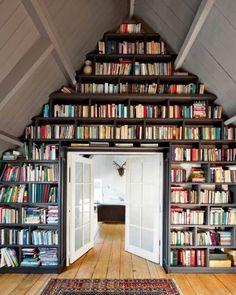 bookshelves #A-frame #country living #tiny houses