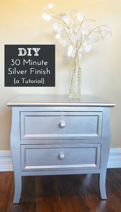 DIY Silver Spray Paint Furniture Finish